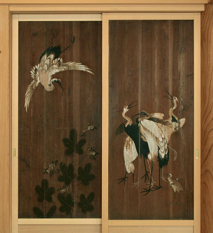 「鶴」狩野探圳の高弟一葉斎雪高画